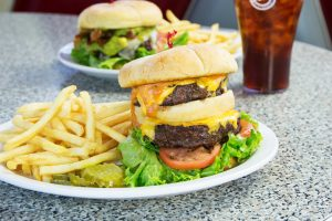 double cheese burger and fries